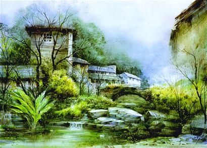 风景画彩色铅笔画