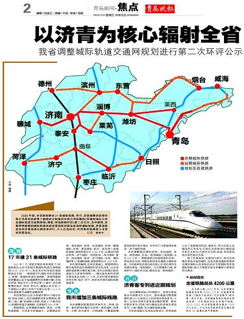 形成青岛到太原的客运专线