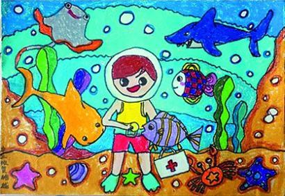 《保护野生动物》陈潇《鱼的眼泪》  二等奖(6名)  丁奕娴《保护水生