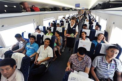 目前青岛至北京,上海的高铁上座率提高